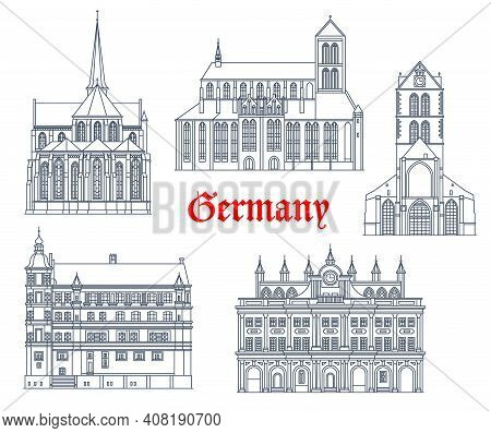 Germany Landmarks Buildings Vector Icons, German Architecture Of Rostock And Gustrow City. St Nikola