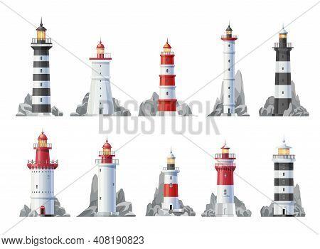 Nautical Lighthouse Buildings Isolated Vector Icons. Sea Beacon Light Towers And Ocean Coast Beach H
