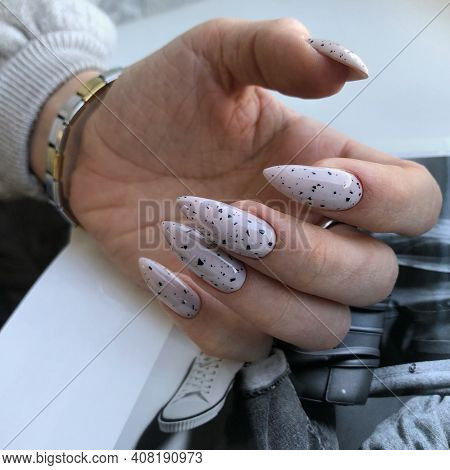 Women's Gray Manicure With Design.hands Of A Woman With Gray Manicure On Nails