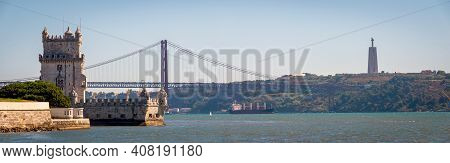 Panoramic View Of Belem Tower, One The Most Famous Landmark In The City Of Lisbon, Portugal.
