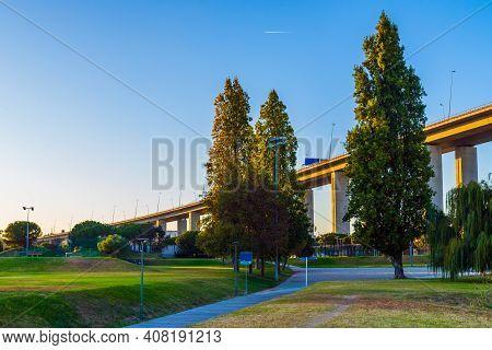 View From Park Near Vasco Da Gama Bridge In Lisbon, Portugal.