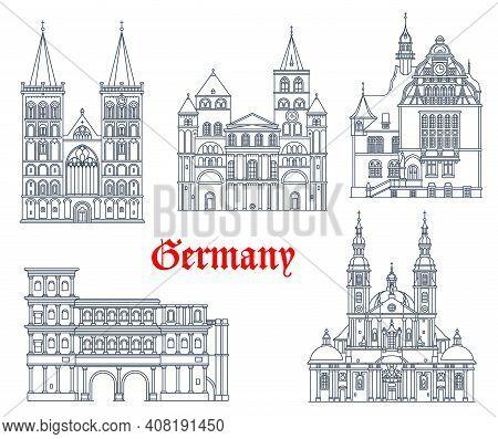 Germany Landmarks Architecture Vector Icons In German Cities, Rhine Westphalia. Germany Landmark Bui