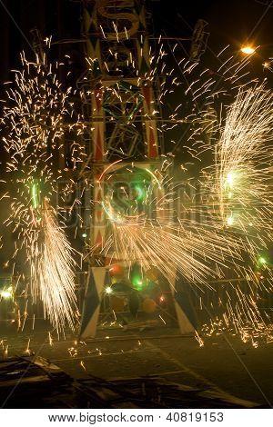 Fireworks Display In Loja Ecuador.