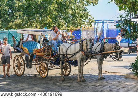 Heybeliada, Turkey - September 15, 2017: These Horse-drawn Carriages Are The Main Kind Of Island Tra
