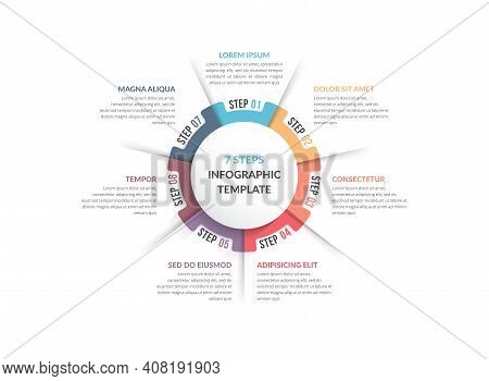 Circle Diagram Template With Seven Steps Or Options, Infographic Template For Web, Business, Present