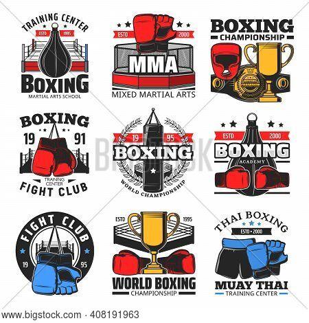 Boxing Championship, Mma Fight Club And Martial Arts School Emblems. Mixed Martial Arts Academy, Mua