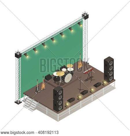 Truss Construction Of Stage For Street Performance With Audio Amplifiers Electric  Guitars And Percu