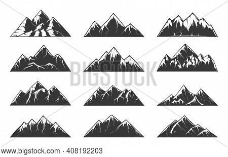 Mountain Chain Snowy Peaks, Rocky Hills End Volcanoes. High Mountains With Sharp Tops, Gorges And St
