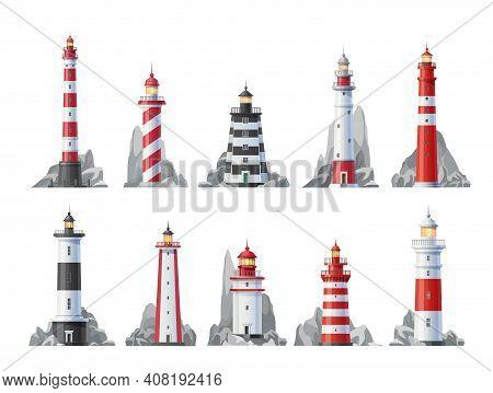 Lighthouse Vector Icons Set Of Nautical Towers With Beacon Lights. Sea Coast Or Ocean Beach Rocks An