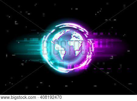 Glitch, Globe Map Background, Digital Noise Pixels On Tv Vector. Earth Globe In Glitch Neon Light On