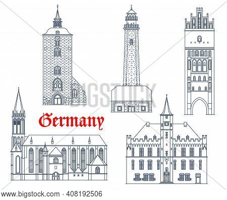Germany Landmarks Architecture Vector Icons, German City Buildings Of Schleswig Holstein, Mecklenbur