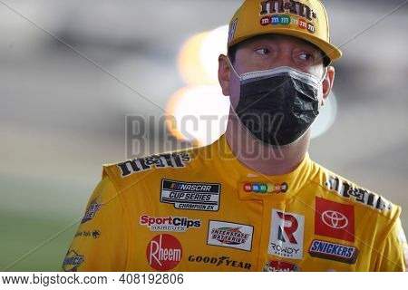 February 11, 2021 - Daytona Beach, Florida, USA: Kyle Busch (18) prepares to race for the Bluegreen Vacations Duel 1 at DAYTONA at Daytona International Speedway in Daytona Beach, Florida.