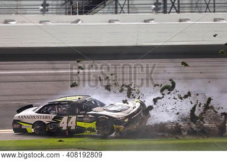 February 13, 2021 - Daytona Beach, Florida, USA: Tommy Joe Martins wrecks during the Beef. It's What's For Dinner. 300 at Daytona International Speedway in Daytona Beach, Florida.