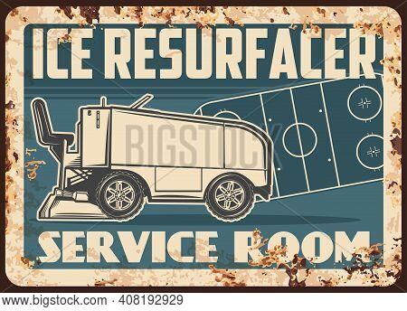 Ice Hockey Rink Resurfacer Rusty Metal Plate. Ice Resurfacer For Hockey Rink Cleaning And Smoothenin