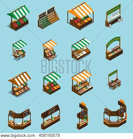 Farm Local Market Isometric Collection With Isolated Images Of Stalls With Tents Products And Sign P