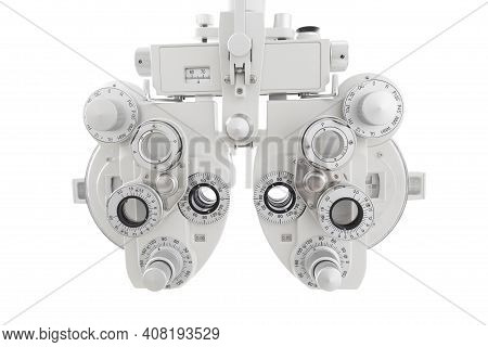 Optometrist Tool To Examine Eye Visual System Of Patient On White Background.