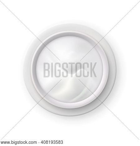White Nourishing Cream In Opened Jar Top View Realistic Image Of Skin Care Cosmetics Product Vector