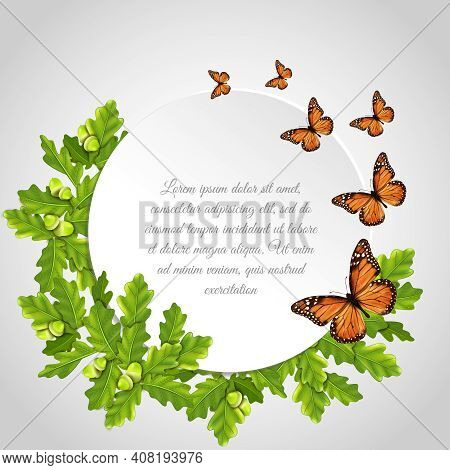 Butterflies Realistic Round Frame Card Composition With Insects Oak Leaves And Text Sample Vector Il