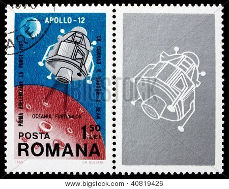 ROMANIA - CIRCA 1969: a stamp printed in the Romania shows Apollo 12 Landing Module, 2nd Landing on the Moon, Intrepid, circa 1969
