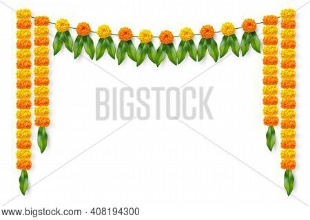 Traditional Indian Floral Garland With Marigold Flowers And Mango Leaves. Decoration For Indian Hind