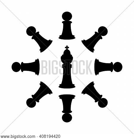 Chess Pieces. Logo, Vector Concept Illustration With Chess King, Queen, Pawns. Black And White