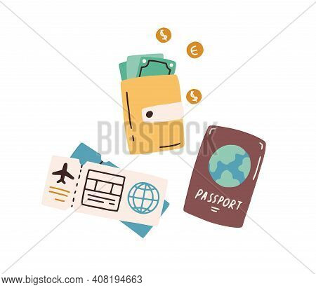 Tourist S Items, Passport, Wallet With Cash, Boarding Pass And Flight Ticket. Tourism And Traveling