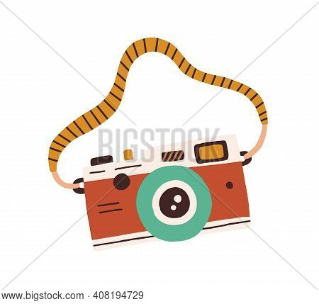 Retro Film Photo Camera With Strap Isolated On White Background. Old Analog Photocamera. Hand-drawn