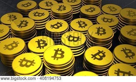 Closeup Shot Of Bitcoins With Nice Camera Movement,crypto Currency, Bit Coin.btc Currency, Business