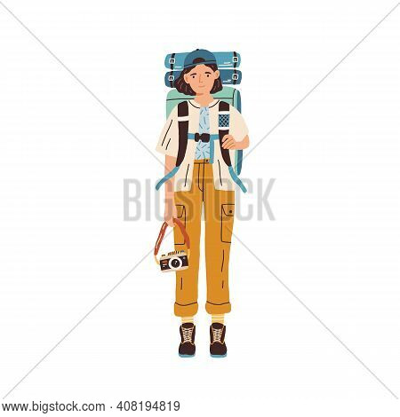 Young Woman With Backpack And Camera Ready For Traveling. Female Tourist Or Hiker In Hiking Clothes