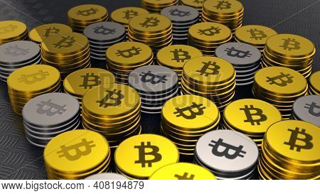 Gold And Silver Bitcoins, Crypto Currency, Closeup Shot Of Bitcoins With Nice Environmental Light Ef