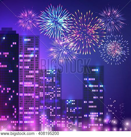 Fireworks Composition Of Urban Scenery With Multistorey Buildings Apartment Houses And Fireworks On