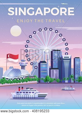 Singapore Travel Poster With National Flag And City Skylines At Marina Bay Flat Vector Illustration