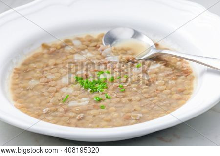 lentil soup with whte onion and chive