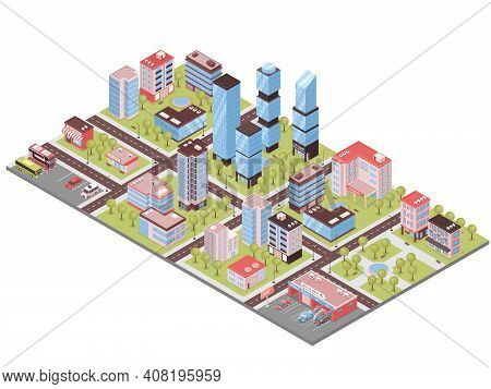 City District Isometric Composition With Business Center Office Towers Auto Repair Parking Lot Store