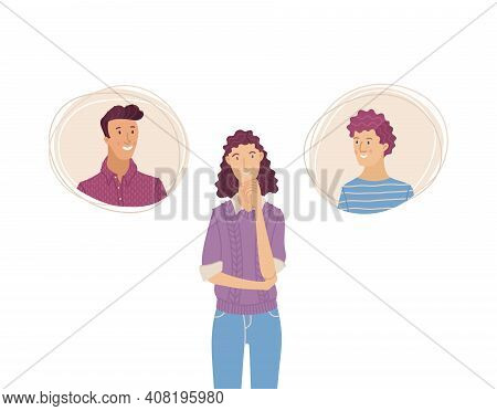Beautiful Woman Thinking About Two Men. Young Girl Chooses Boyfriend. Flat Vector Illustration In Ca
