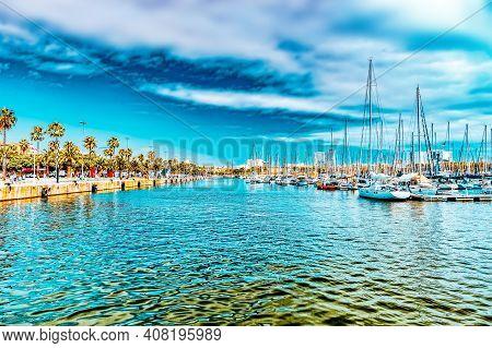 Panorama On Barcelona Seaport .barcelona. Spain.