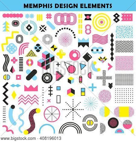 Memphis Design Mixture Shapes And Colors Angular Graphic Worm Like Patterns Decorative Elements Coll