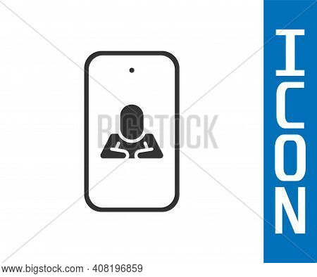 Grey Online Psychological Counseling Distance Icon Isolated On White Background. Psychotherapy, Psyc