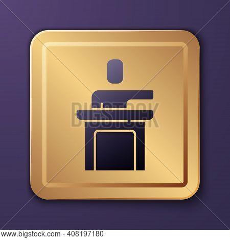 Purple Speaker Icon Isolated On Purple Background. Orator Speaking From Tribune. Public Speech. Pers