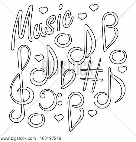 Musical Signs. Concert Festival Doodle . Musical Notes, Treble Clef, Bass Clef. A Hand-drawn Composi