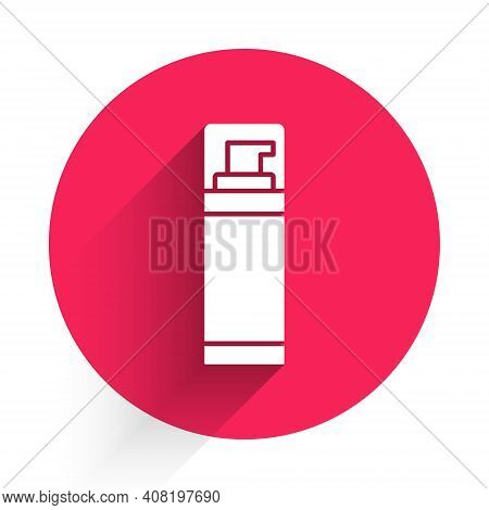 White Shaving Gel Foam Icon Isolated With Long Shadow. Shaving Cream. Red Circle Button. Vector