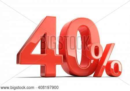 Forty 40 perecent. Glossy red forty percent sign isolated on white. Percentage, sale, discount concept. 3d rendering