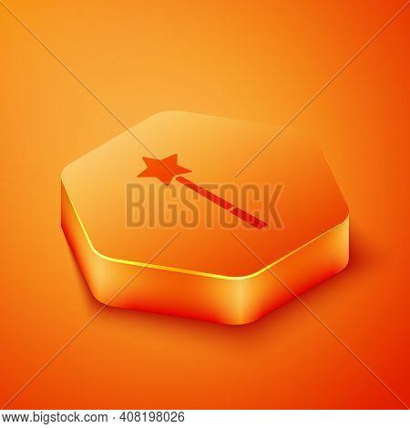 Isometric Magic Wand Icon Isolated On Orange Background. Star Shape Magic Accessory. Magical Power.