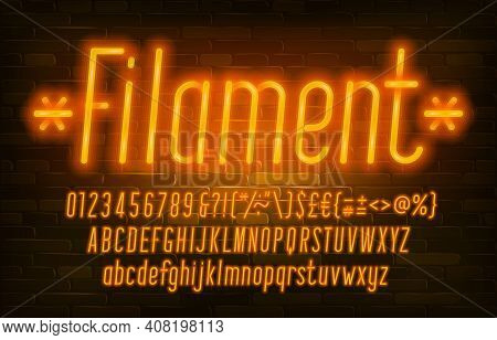Filament Alphabet Font. Neon Light Simple Letters, Numbers And Punctuation. Uppercase And Lowercase.