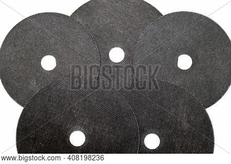 Abrasive Black Wheel, Grinding Disc , Isolated On White Background. Abrasive Materials, Discs, Tools