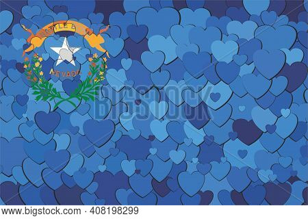 Nevada Flag Made Of Hearts Background - Illustration,  Abstract Mosaic Flag Of Nevada