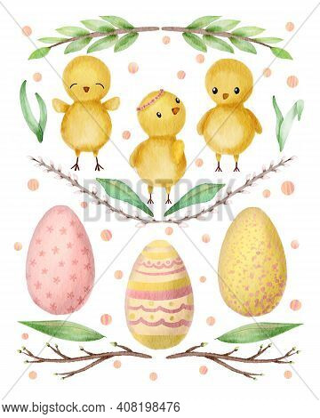 Hand Drawn Watercolor Happy Easter Set With Chicks And Eggs Design. Chicks, Eggs In Cartoon Cute Sty