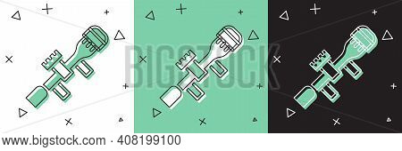 Set Sniper Optical Sight Icon Isolated On White And Green, Black Background. Sniper Scope Crosshairs