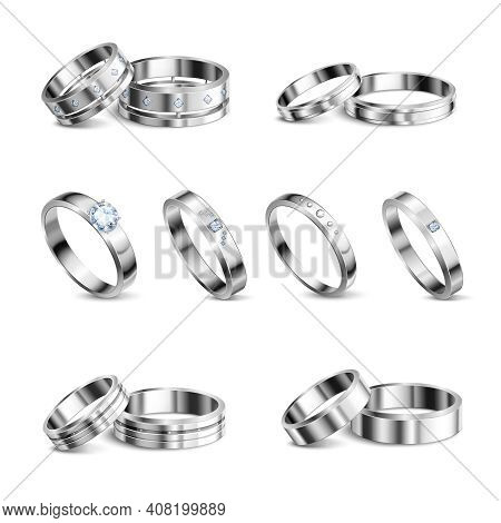 White Gold Platina Noble Metals Wedding Rings 6 Realistic Isolated Sets Jewelry Shadow Neutral Backg