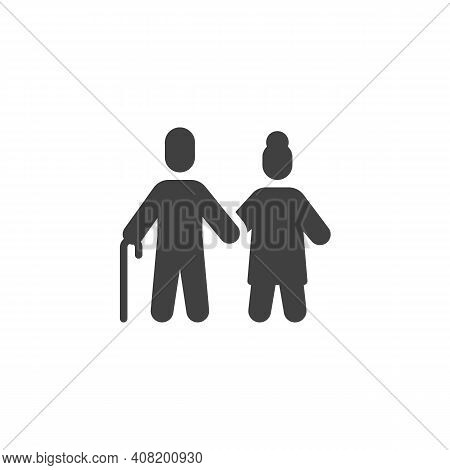 Grandfather And Grandmother Vector Icon. Filled Flat Sign For Mobile Concept And Web Design. Old Man